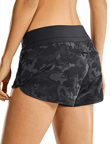CRZ YOGA Pantalón Corto para Mujer Shorts con Bolsillo Cremallera -6cm Camo Multi 6 40
