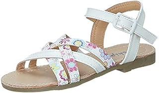 Skippy Adjustable Buckle Strap Open Toe Sandals for Girls - White, 34 EU