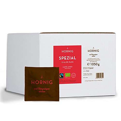 J. Hornig Cialde Caffè Lungo Pads, Spezial, Kaffee mit mild-würzigem Aroma in Bio & Fair Trade Qualität, Mahlkaffee in ESE Kaffeepads, 150 Stück Großpackung