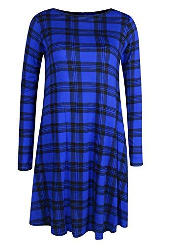Effen T-shirtjurk voor dames - midi-lengte/wijd uitlopend/skater jurk/swing jurk - lange mouwen