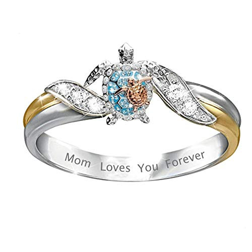Animal Turtle Ring Crystal Zirconia Mom Loves You Forever Turtle Statement Ring for Women Girls Mother Day Birthday Gift Jewelry Size 8
