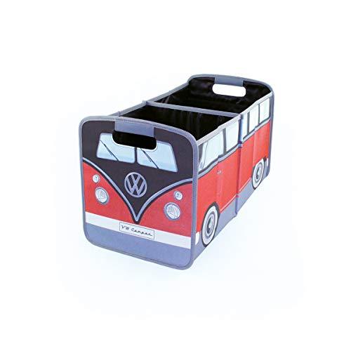 BRISA VW Collection - Volkswagen T1 Bulli Bus Falt-Aufbewahrungs-Box, Kofferraum-Tasche, Stauraum für Einkäufe, Spielzeug, Alltagsgegenstände, Auto-Zubehör (Rot/Schwarz)