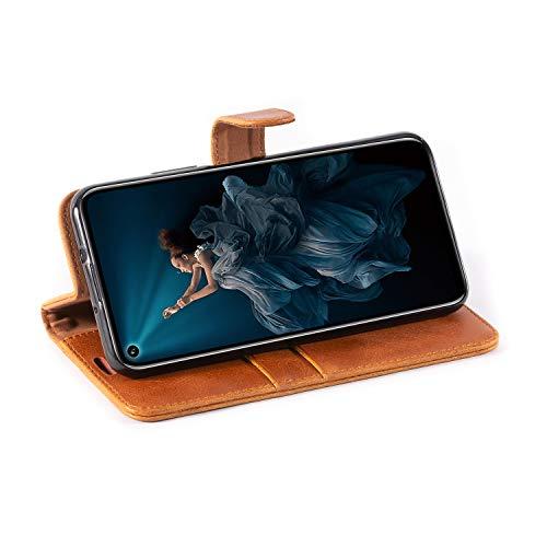 Mulbess Handyhülle für Honor 20 Pro Hülle, Leder Flip Case Schutzhülle für Huawei Honor 20 Pro / Honor20 Pro Tasche, Cognac Braun - 6