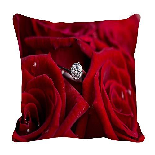 Perfecone Home Improvement - Funda de almohada de algodón, diseño de rosas rojas y diamantes para sofá y coche, 1 paquete de 43 x 43 cm