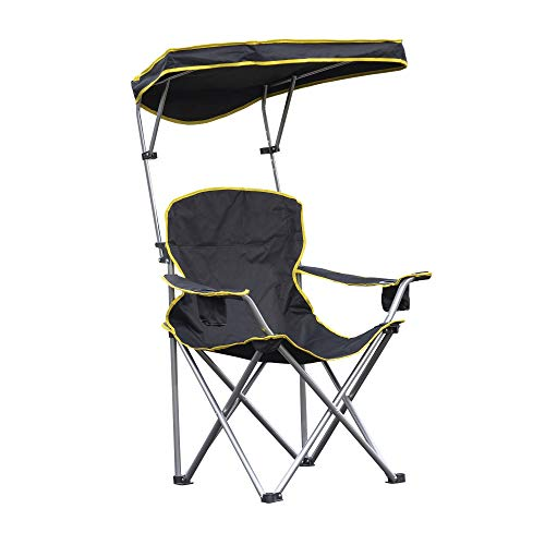 Quik Shade Heavy Duty Max Shade Extra Wide Folding Camp Chair with Tilt UV Sun Protection Canopy – Black