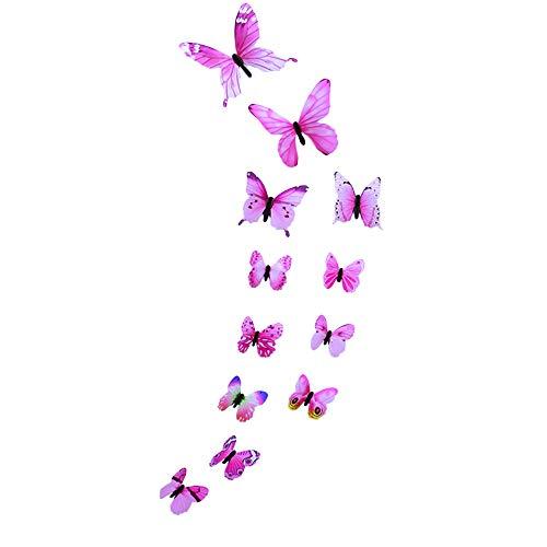 Janly Clearance Sale 12 pegatinas de pared con diseño de mariposa luminosa, decoración magnética para el hogar para el día de Pascua (rosa)