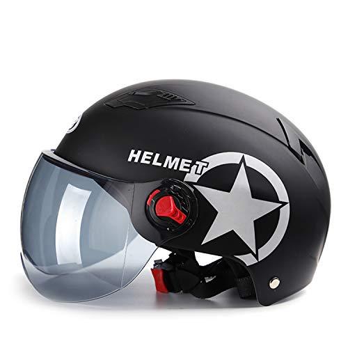 Galatée Erwachsenen Harley Motorradhelm Scooter-Helm, Mode halboffener Helm mit Schutzbrille,Der stoßfeste belüftete Helm schützt die Sicherheit des Benutzers (Mattschwarz, Braune Linse)