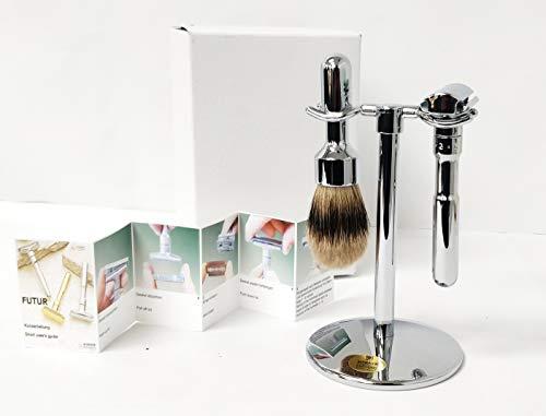 Merkur – Rasier-Set, 3-teilig, glänzend, inkl. Rasierer Futuri, grauer Rasierpinsel und Halterung