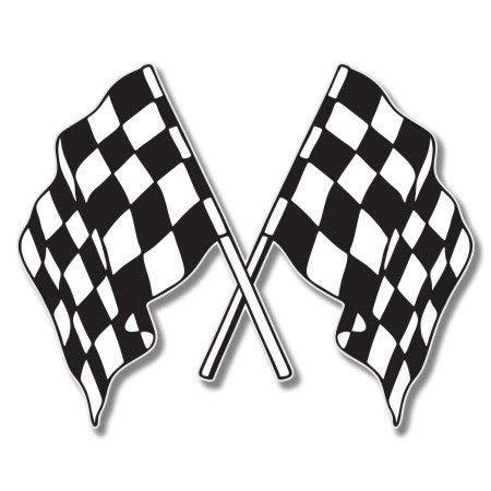 Checkered Flags Racing Vinyl Sticker - Car Phone Helmet Bumper Sticker Decal