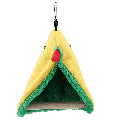 Bird Hammock, Bed Hanging Cave Toy Triangle Plush Cage Hammock, Reduce Stress Bird Happy Tent, Cockatiels for Small Parakeets