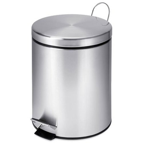 Honey-Can-Do 5l Round Stainless Steel Step can, 5-Liter 1.3-Gal