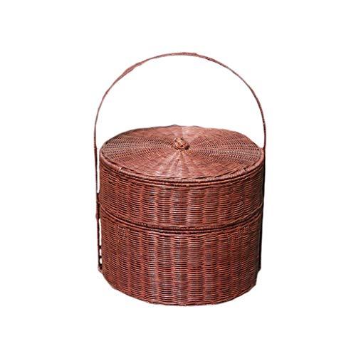 Cesta de picnic de gran capacidad al aire libre Tejido a mano Vine Mango de bambú Cestas de picnic Ronda Doble Cestas de picnic al aire libre Excursión Camping Compras Almacenamiento Cestas de regalo