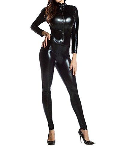 Gladiolus Deuxième Costume De Peau Costumé Adulte Métallique Catsuit Zentai Bodysuit Noir S