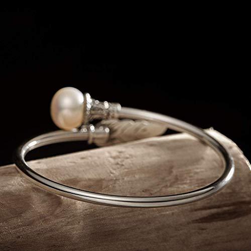 Pulsera SMEJS, pulsera de plata original hecha a mano, pulsera de plata femenina, joyería de plata con perla retro, pulsera creativa con apertura de plumas para mujer