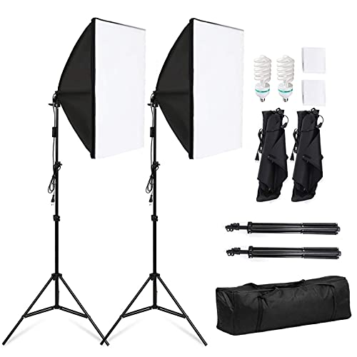 Softbox - Set di luci per studio fotografico, 50 x 70 cm, softbox 5500 K, luce diurna 135 W, treppiedi pieghevole per lampada (Set II)