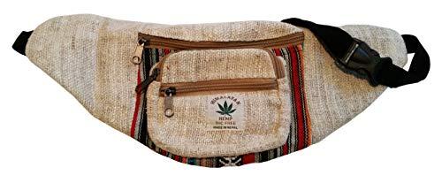 Handgemachte Hüfttasche/Bauchtasche/Gürteltasche aus natürlichem Hanf - Unisex - Made in Nepal