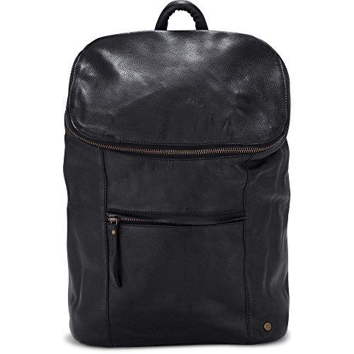 Cox Damen Leder-Rucksack, Daypack in Schwarz mit Reißverschluss (40 x 29 x 13 cm) Schwarz Leder 1