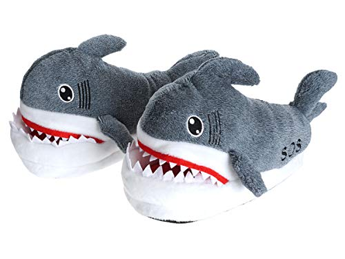 CoolChange Kuschelig warme Haifisch Hausschuhe, Grau