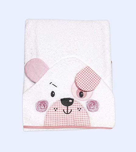 Ti Tin. Capa de baño de bebé con capucha rizo toalla 100% algodón. Toalla de bebé con capucha suave y absorbente con un diseño de perrito color rosa
