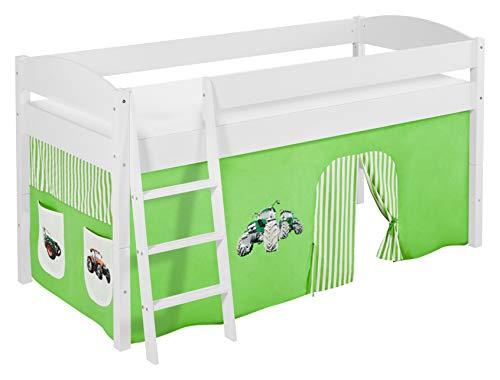 Lilokids Spielbett IDA 4105 Trecker Grün Beige-Teilbares Systemhochbett weiß-mit Vorhang Kinderbett, Holz, 208 x 98 x 113 cm