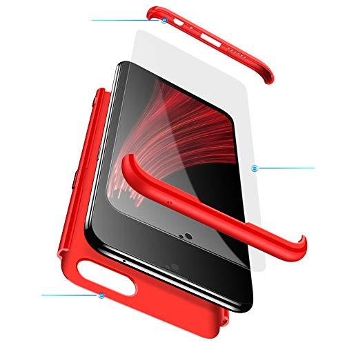 MEVIS Oppo F3 Plus Hülle,360 Grad hülle Fullbody case+(1*Hartglas Glasfilm Schutzfolie) 3 in 1 Ultra dünner pc Hardcase Scratch & Shockproof-Rot