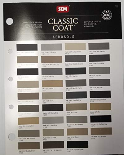 Auto Paint Pro SEM Classic Coat AEROSOLS Color Chart by Vehicles Color ON Most Vinyl & Leather