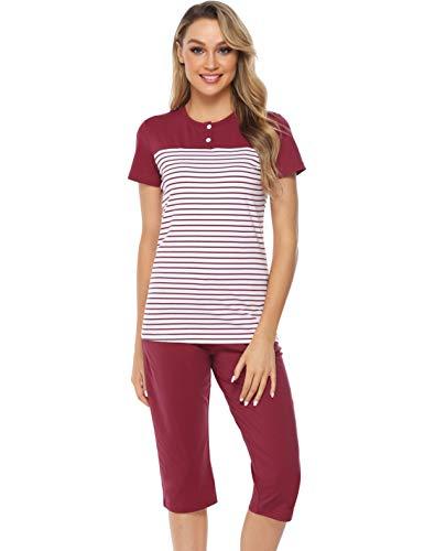 Hawiton Damen Schlafanzug Kurz Sommer Pyjama Gestreift Nachtwäsche mit Capri Hose und Kurzarm Oberteil Weinrot XL