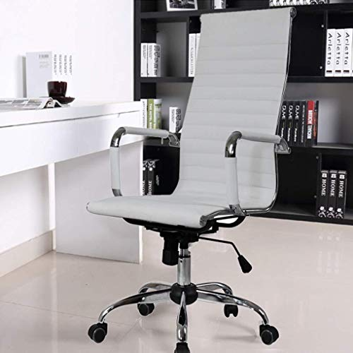 Scra AC High-end Computer Chair Office Work Chair Reclining Home Stool Lounge Massage Lift Chair Leather Desk Seat Meeting (Black) (Color : White)