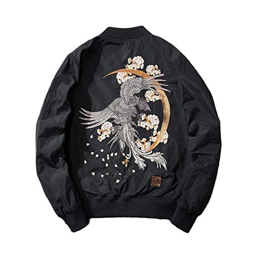 ZHAOXIANGXIANG Men Jacket,Bomber Jacket Men Hip Hop Embroidery Phoenix Flight Jackets Mens Autumn Winter Fashion Retro Baseball Jacket Harajuku Streetwear,Xl