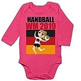 Shirtracer Sport Baby - Handball WM 2019 Mädchen - 12/18 Monate - Fuchsia BZ30 - Baby Body Langarm