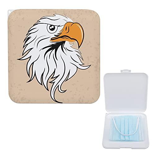 Porta Mascarillas Infantil Portamascarillas Caja Para Guardar Mascarillas Para Niños Y Niñas Cabeza De Águila Blanca 13cmx13cm