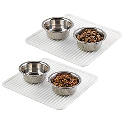 mDesign Medium-Sized Feeding Mat - Pet Bowl Mat Perfect for Dogs, Cats and Other Animals - Animal Placemats Ideal for Two Small Or One Large Feeding Bowl by MetroDecor