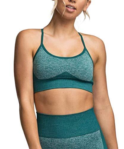 ShinyStar Damen Sport BH Starker Halt Gepolstert Push Up Yoga BH ohne Bügel Atmungsaktiv Sports Bra Top (L, Grün BH)