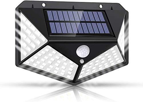 Solarlampen für Außen,【Super Helligkeit】Lspcsw 100 LED Solarleuchte mit Bewegungsmelder Solar Wasserdichte Wandleuchte Solar Aussenleuchte Solarlicht für Garten 【270° Vierseitige Beleuchtung-1200mAh】