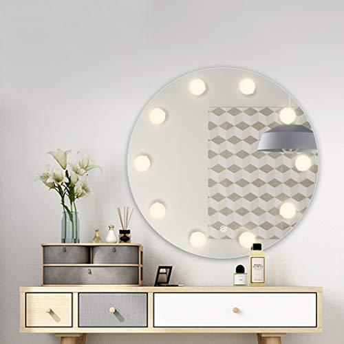 Espejo De Baño LED Redondo, Espejo De Maquillaje para Baño con Bombilla, Espejo De Tocador para Salón De Belleza Montado En La Pared, Interruptor De Atenuación Continua