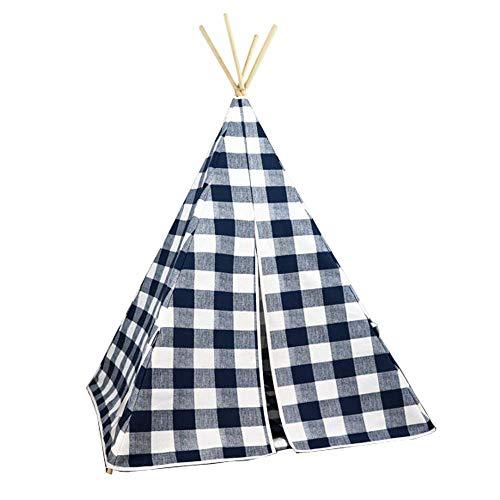 HIGHKAS Kinderspielhaus Spielzelt Blue Plaid Indian Zelt Mädchen Junge 3 Jahre alt Indoor Outdoor Einfach zu zerlegen Einfache Mode