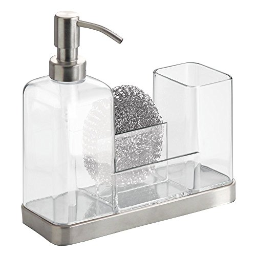 Price comparison product image iDesign Brushed Stainless Steel Forma 2 Soap and Brush Caddy,  Clear