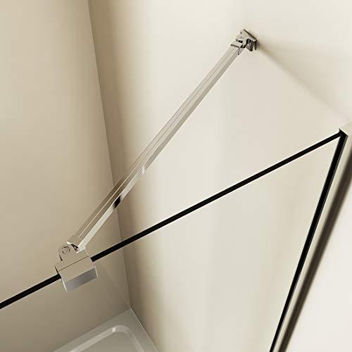 Meykoers Haltestange für Duschwand 500mm Stabilisator mit Winkel flexibel 180°drehbar für Glasstärke 5-6mm, Stabilisierungsstange für Dusche Walk-in Duschwände - Edelstahl + Aluminium