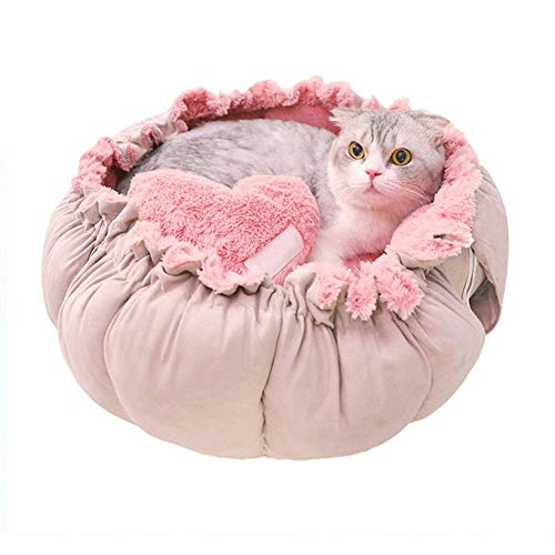 Cat Beds Cute Love Heart Pet Cat Bed Round Pet Bed Pet Dog Bed Cat Nest Soft Mat Bed Pad Sofa For Small Dogs mwsoz (Color : Pink, Size : Medium)