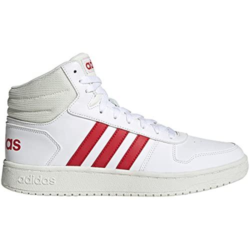 adidas Men's Hoops 2.0 Mid Basketball Shoe, White/Vivid Red/Cloud White, 13 M US