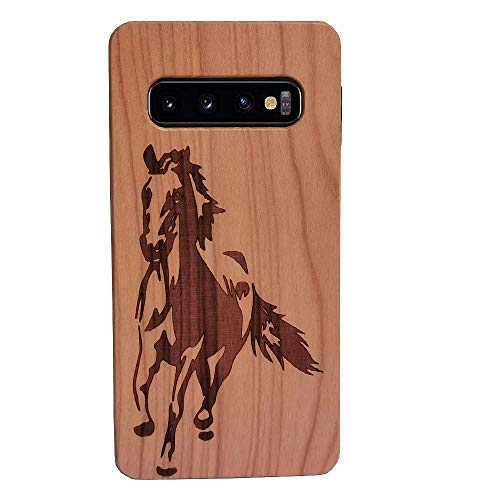 CYD Wooden Case for Galaxy S10, Natural Real Wood Engraved Running Horse Shockproof Drop Proof Slim Bumper TPU Protective Cover for Samsung Galaxy S10 (2019)