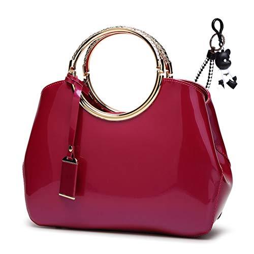 DEERWORD Damen Umhängetaschen Handtaschen Totes Henkeltaschen Schultertaschen Leder Rosa Rot