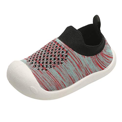 YWLINK NiñOs NiñAs Rayas Malla Deporte Zapatillas Deportivas Calzado Informal Transpirable Antideslizante Comodidad Inferior Suave Fiesta De CumpleañOs Zapatos De Primer Paso Regalo(Negro,16EU)