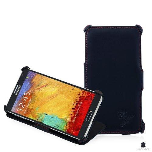 Manna - Funda de piel para Samsung Galaxy Note 3 N9000 N9005 | Función Easy Stand | Cuero de napa suave y liso