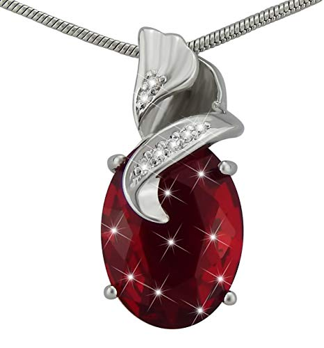 Hanessa Damen-Schmuck Edle Halskette Versilbert Rot Granat-Stein Tropfen Anhänger Geschenk für die Frau/Freundin