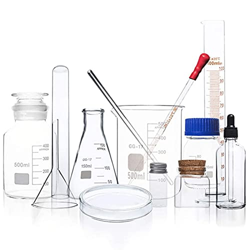 HCFSUK Juego de cristalería para experimentos químicos, Vaso de precipitados de 500 ml, matraz cónico de 250 ml, matraz aforado de 500 ml, Probeta de Vidrio de 100 ml, etc.