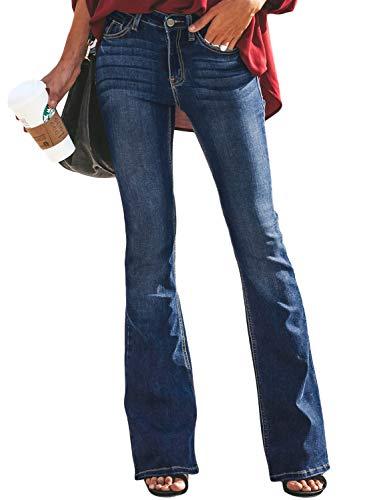 Aleumdr Femme Jean Évasé Pants Pantalon Boutonné Jeggings Stretch Zippé Coupe en Denim Elastique Leggings avec Poche Bootcut Casual Décontracté Pantalon Vintage S-2XL,B-bleu Fonce-01,M
