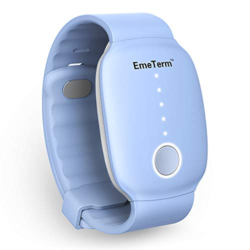 EmeTerm Relieve Nausea Electrode Stimulator Morning Sickness Motion Travel Sickness Vomit Relief Rechargeable No Gel Drug Free Wrist Bands Without Side Effects (New Blue)