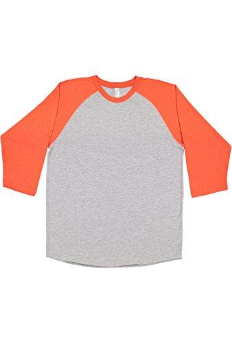 LAT Men's Fine Jersey Crew Neck Raglan 3/4 Sleeve Baseball Tee, Vintage Heather/Vintage Orange, L