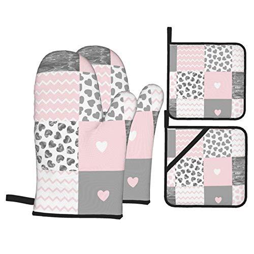 Vilico 2 Stück Ofenhandschuhe und 2 Stück Topflappen Ofen-Patchwork rosa graue Herzen Küche rutschfeste Handschuhe und Hot Pads zum Kochen Backen hitzebeständig Handschutz